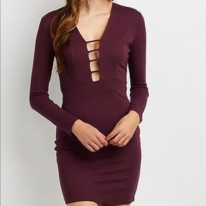 Plum Caged Front Bodycon Dress